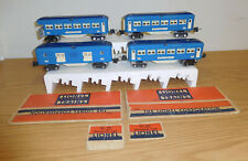 LIONEL PREWAR 613 x2 614 615 BLUE COMET TINPLATE PASSENGER 4-CAR SET O GAUGE