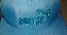 Vintage PUMA Snapback Trucker Style Hat Adjustable Light Blue