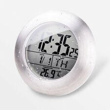 Digital Waterproof Shower Bathroom Wall Clock Kitchen Temperature Mirror