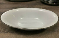 """10.5"""" Oval Vegetable Bowl Silverdale by Noritake White Body Coupe Platinum Trim"""