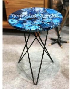 """18""""x18"""" Round Blue Agate Marble Kitchen & Side Table Top Beautiful Handmade Gift"""