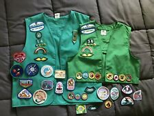 2 Green Girl Scout Vests With 12 Badges, 30+ Patches, Pins Mid Continent 90s