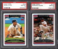 2006 Topps #500 DEREK JETER New York Yankees PSA 10 GEM MINT (2) CARD LOT
