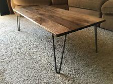 Black Walnut Hardwood Coffee Table with Hairpin Legs