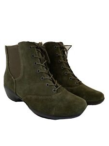 9M Softsteps Women's New Khaki Green Suede Cate12 Boots Side Zip