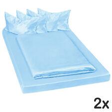 2x Juego ropa de cama satinada poliéster sábana bajera edredón 200x150 azul