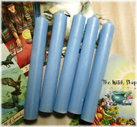 "5 LIGHT BLUE MINI SPELL TAPER CANDLES Wicca Witch 4"" Chime Altar Candles"