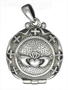 Sterling Silver Claddagh Hands Heart Locket Pendant, Cross Border, Filigree Back