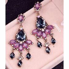 Dark Blue Peach Pink Crystal Statement Stud Dangle Chandelier Earrings UK Shop