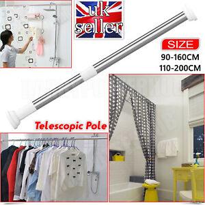 UK 90-200cm Telescopic Extendable Shower Window Curtain Bath Door Pole Rod Rail