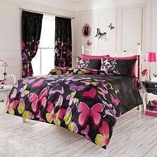 papillon à la Mode Parure housse de couette king size - Noir & rose literie