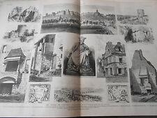 Grande Gravure 1882 - Les Fêtes de Chinon inauguration Statue Rabelais