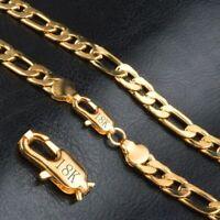 18 Karat Gold Kette vergoldet Edelstahl Halskette Panzerkette Damen Herren NEU