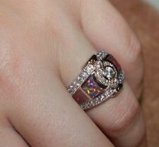 fire opal topaz Cz ring gemstone silver jewelry 5.5 6 6.5 8 cocktail engagement