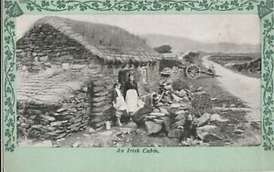 a irish life eire old postcard ireland old cabin