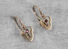 Wunderschönes Paar Jugendstil Ohrringe aus Gold 585 mit Schmuckstein rot