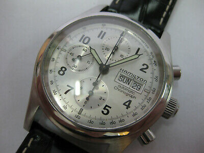 Gents Hamilton Khaki Chrono Automatic Watch Stainless Steel Leather Silver Dial
