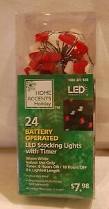 Home Accents LED 24 Stocking Christmas Holiday Lights Battery With Timer