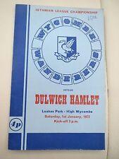 Wycombe Wanderers V Dulwich   1971/2