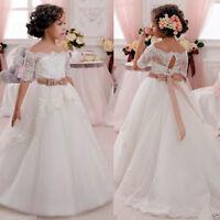 ABAO Children's Girls Rhinestone Lace Fancy Ball Gown Flower Girl Pageant Dress