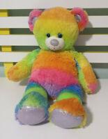 Build-A-Bear RAINBOW WITH PURPLE SPARKLY NOSE AND FEET 40CM TEDDY BEAR