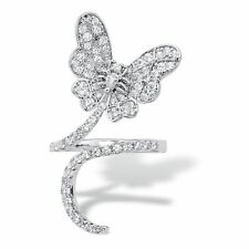 Platinum-Plated Butterfly Wraparound Ring 1.27 Tcw Pear-Cut Cubic Zirconia