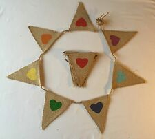 Bunting - Hessian Mixed Pastel Coloured Heart Shabby Chic Rustic Party Decor 5ft