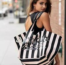 Victoria's Secret VS Striped Sequin Black Silver Tote Travel Bag Shopper Weekend