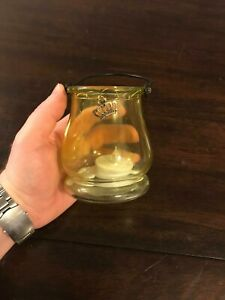 Yellow Tinted Glass Candle Holder