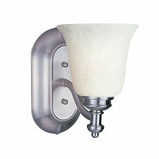 Brushed Nickel And White Mottle Glass Wall Light