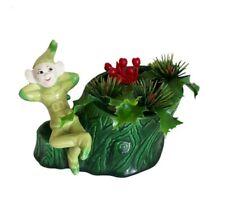 Vtg Rare Treasure Craft Elf Pixie Ceramic Planter Green Holly Berry Mid Century