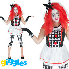 Womens Jester Costume Halloween Harlequin Ladies Scary Clown Fancy Dress Outfit