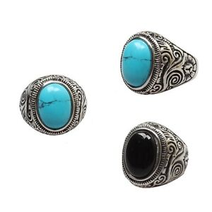 Mens Large Natural Oval Turquoise Gemstone Stainless Steel Ring US Size 7-14