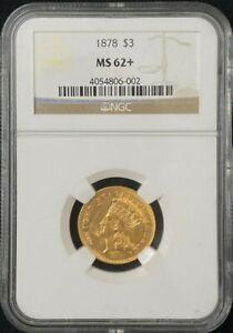 1878 $3 Dollar Gold Coin NGc MS 62+