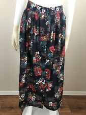 Women's Vintage 1980's Black w/ Festive Floral Printed Maxi Skirt, Size S/M