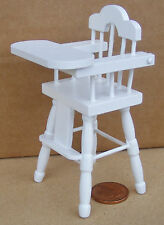 1:12 Scale White Painted Babies High Chair Dolls House Nursery Dining 130