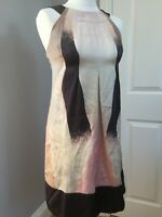 ted baker 100%silk backless sheath dress size 1 with tie back holiday party