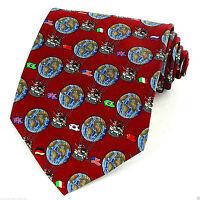 Men's Silk Christmas Necktie Santa Around World Flags Holiday Red Neck Tie