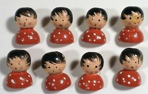 8 Vtg 1970s JHB Imports Hand Painted Wood Novelty Whimsy BUTTONS Red Doll 3/4