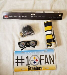 LOT of 5 NFL Pittsburgh Steelers Items  Decals  Vanity Plate  Necklace  Glasses