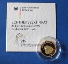 20 Euro Gold 2015 Deutscher Wald Linde Prägestätte F (Stuttgart)