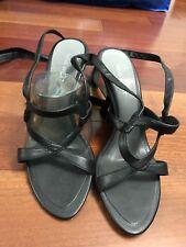 Nine West Georginar Black Leather Open Toe Strap Wedding Wedges Dress Size 7 NEW