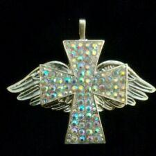 Rhinestone Iridescent Cross Wings Necklace Pendant