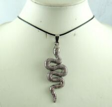 Fashion Retro antique SILVER Charm snake Pendant Charm Leather Necklace