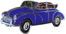Morris Minor convertible car cut out lapel pin - Blue body