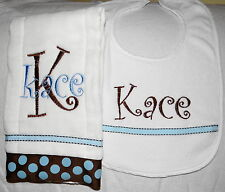 Brown and Blue Personalized Embroidered Burp Cloth and Bib Set