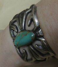 """Navajo Signed """"M"""" OIder Sand Cast Bracelet Beautiful Royston Turquoise Sterling"""