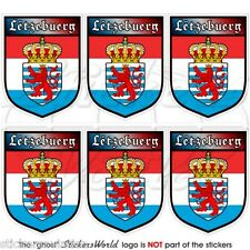 """LUXEMBOURG Letzebuerg Shield 40mm (1.6"""") Mobile Cell Phone Mini Sticker-Decal x6"""