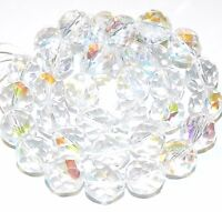 CZ634 Crystal AB 12mm Fire-Polished Faceted Round Czech Glass Beads 16""