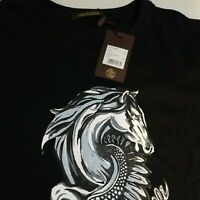 NWT Roberto Cavalli Men's Black Logo Graphic Print Cotton S/S T-Shirt Size XL